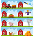 different farm animals and things on the farm vector image