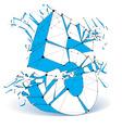 dimensional wireframe number 5 blue demolished vector image vector image