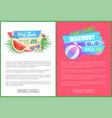 discount sale summertime offer palm leaves vector image vector image