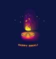 diwali lamp bright colorful sign isolated on dark vector image vector image