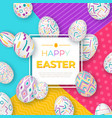 Easter background with square frame and colorful vector image
