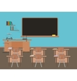 Empty school classroom with blackdesk pupils vector image vector image
