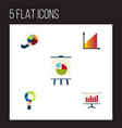 flat icon chart set of monitoring pie bar easel vector image vector image