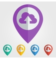 flat pin with cloud upload icon vector image vector image
