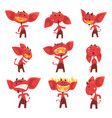 Funny red devil cartoon characters with different vector image
