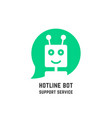 green hotline bot logo like support service vector image