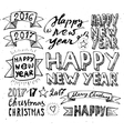 hand draw set christmas and happy new year vector image vector image