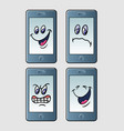 handphone emoticon icon cartoon character vector image vector image