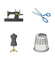 manual sewing machine scissors maniken thimble vector image vector image