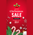 merry christmas sale message with santa staff vector image vector image