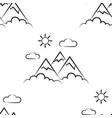 mountains sun clouds pattern seamless vector image vector image