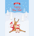 new year 2019 card with reindeer santa and piggy vector image