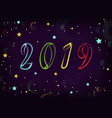 new year 2019 space stars planets vector image vector image