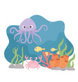 octopus crab fishes life coral reef cartoon under vector image