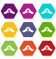 pirate hat icon set color hexahedron vector image vector image