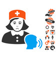 psychotherapist nurse talking icon with lovely vector image