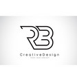 rb r b letter logo design in black colors vector image vector image