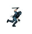 riot policeman attacks with a baton police work vector image vector image
