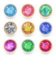 Round shape top view bezel colored gems vector image vector image