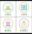 saving valuable asset and money thin line icon set vector image