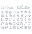 set flat line icons physic vector image vector image