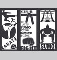 set of cool fighting club brochure fight cards vector image