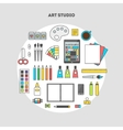 Set of flat icons for design art studio vector image
