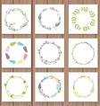 Set with floral wreaths Template for wedding vector image vector image