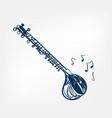 Sitar sketch line design music instrument