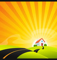 small house in summer sunrise landscape vector image vector image