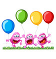 three monsters playing with balloons vector image vector image