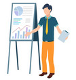 whiteboard presentation man holding clipboard vector image vector image