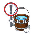 With sign wooden bucket character cartoon