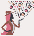 woman silhouette with beauty cosmetics vector image vector image