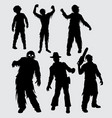 zombie male and female walking silhouette vector image