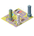 3d isometric map of city with buildings vector image vector image