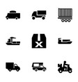 9 shipping icons vector image vector image