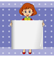 A girl holding an empty signage with a polkadot vector image vector image