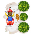 A topview of a boy riding a motorcyle vector image