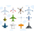 aircraft different plains top view vector image vector image
