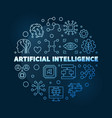 artificial intelligence blue line round vector image