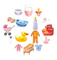 baby born icons set cartoon style vector image