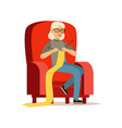 beautiful senior woman sitting in the armchair and vector image vector image