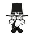 black and white thanksgiving turkey head vector image