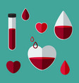 blood collection concept blood donation set of vector image vector image