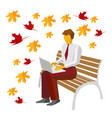 businessman in the park typing on laptop vector image vector image