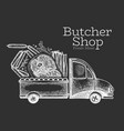 butcher shop delivery logo template hand drawn vector image