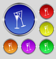 champagne glass icon sign Round symbol on bright vector image vector image