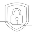 continuous one line drawing icon security lock vector image
