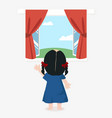 cute girl standing back with open window with a vector image